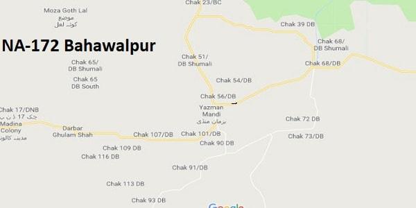 NA 172 Bahawalpur Google Area Location Map Election 2018 National Assembly constituency (Halqa)-min