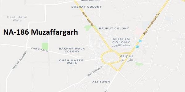 NA 186 Muzaffargarh Google Area Location Map Election 2018 National Assembly constituency (Halqa)-min
