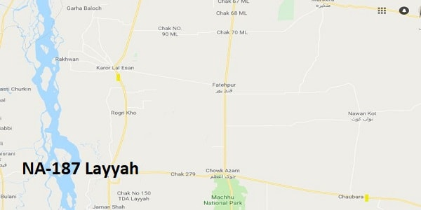 NA 187 Layyah Google Area Location Map Election 2018 National Assembly constituency (Halqa)-min