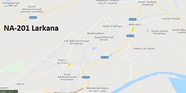 NA 201 Larkana Google Area Location Map Election 2018 National Assembly constituency (Halqa)-min