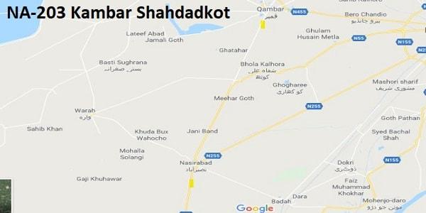 NA 203 Kamber Shahdadkot Google Area Location Map Election 2018 National Assembly constituency (Halqa)-min