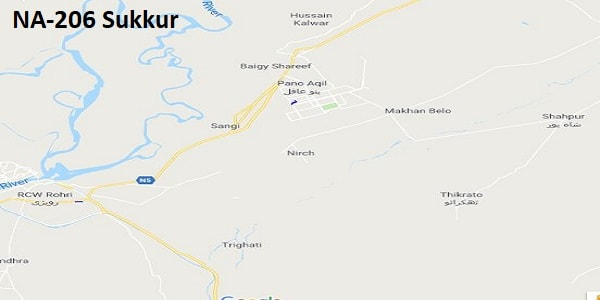 NA 206 Sukkur Google Area Location Map Election 2018 National Assembly constituency (Halqa)-min