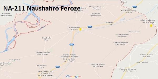 NA 211 Naushahro Feroze Google Area Location Map Election 2018 National Assembly constituency (Halqa)-min