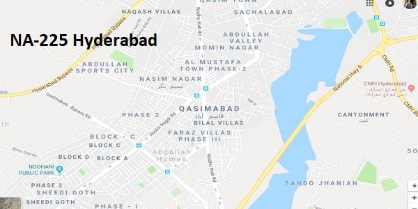 NA 225 Hyderabad Google Area Location Map Election 2018 National Assembly constituency (Halqa)-min