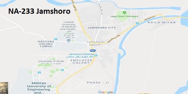NA 233 Jamshoro Google Area Location Map Election 2018 National Assembly constituency (Halqa)-min