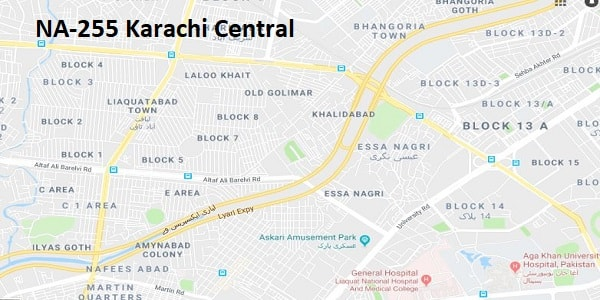 NA 255 Karachi Central Google Area Location Map Election 2018 National Assembly constituency (Halqa)-min