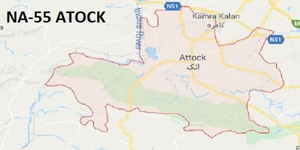 NA 55 Atock Area Google Area Location Map Election 2018 National Assembly Constituency (Halqa)-min