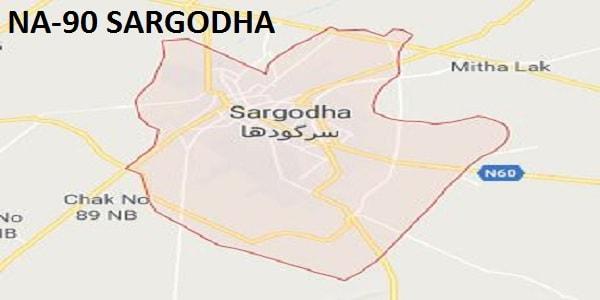 NA 90 Sargodha Google Area Location Map Election 2018 National Assembly constituency (Halqa)-min