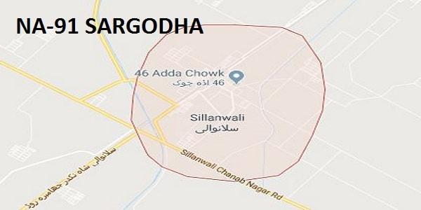 NA 91 Sargodha Google Area Location Map Election 2018 National Assembly constituency (Halqa)-min