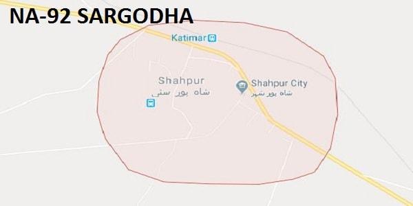 NA 92 Sargodha Google Area Location Map Election 2018 National Assembly constituency (Halqa)-min