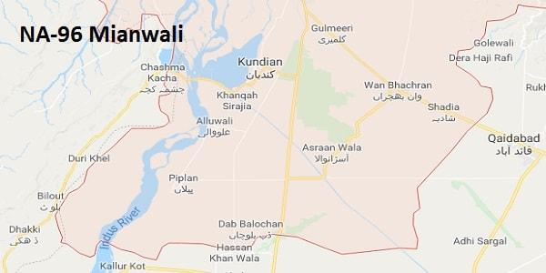 NA 96 Mianwali Google Area Location Map Election 2018 National Assembly constituency (Halqa)-min