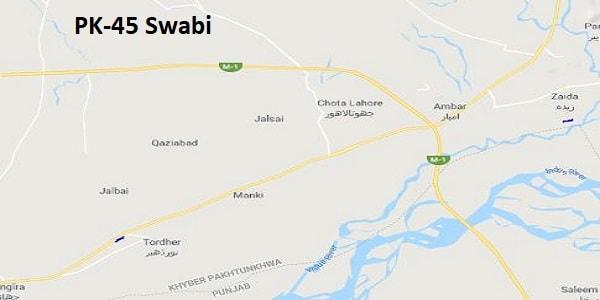 PK 45 Swabi Google Area Location Map Election 2018 KPK Assembly constituency (Halqa)-min
