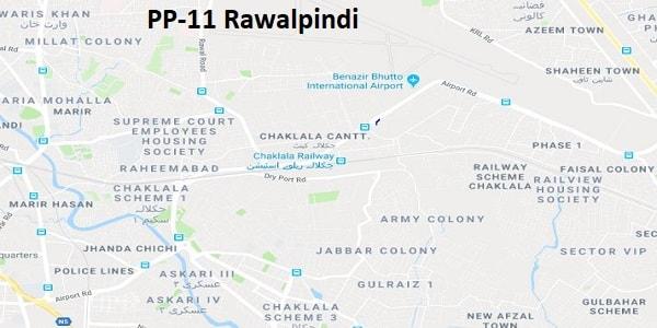 PP 11 Rawalpindi Google Area Location Map Election 2018 Punjab Assembly constituency (Halqa)-min