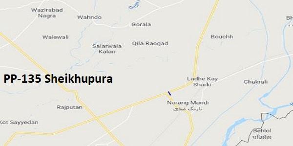 PP 135 Sheikhupura Google Area Location Map Election 2018 Punjab Assembly constituency (Halqa)-min