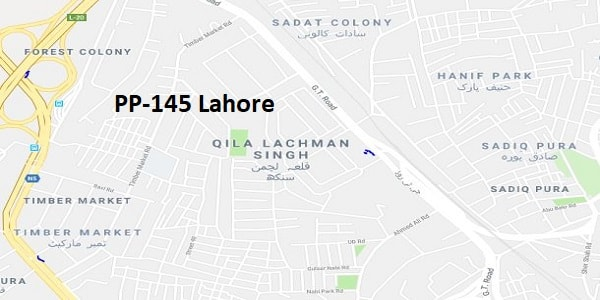 PP 145 Lahore Election Result 2018 – Candidates and Map