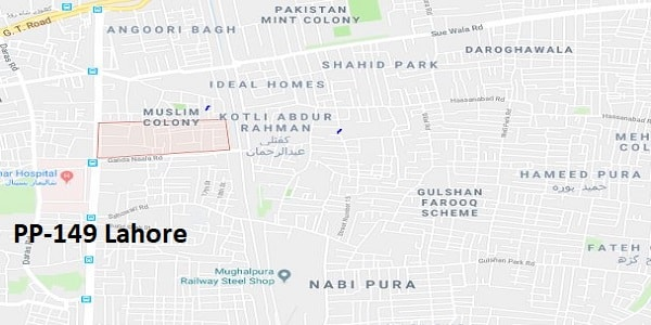 PP 149 Lahore Google Area Location Map Election 2018 Punjab Assembly constituency (Halqa)-min