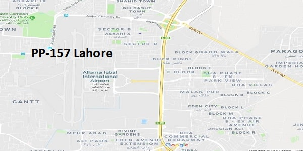 PP 157 Lahore Google Area Location Map Election 2018 Punjab Assembly constituency (Halqa)-min