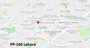 PP 160 Lahore Google Area Location Map Election 2018 Punjab Assembly constituency (Halqa)-min