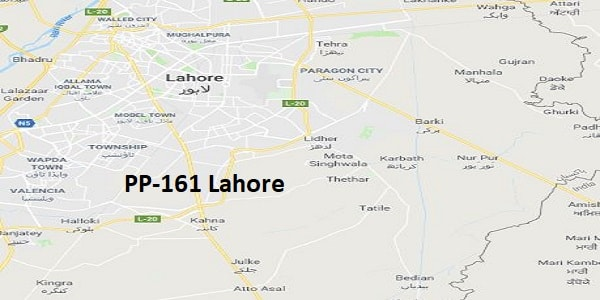 PP 161 Lahore Google Area Location Map Election 2018 Punjab Assembly constituency (Halqa)-min