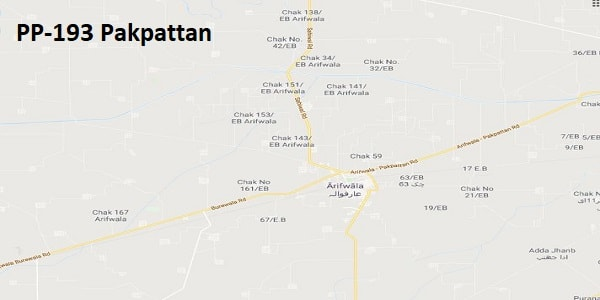 PP 193 Pakpattan Google Area Location Map Election 2018 Punjab Assembly constituency (Halqa)-min