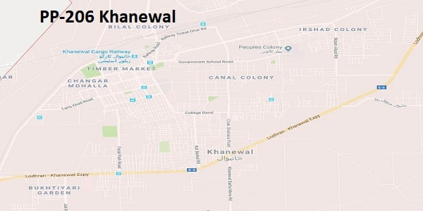 PP 206 Khanewal Google Area Location Map Election 2018 Punjab Assembly constituency (Halqa)-min