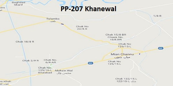 PP 207 Khanewal Google Area Location Map Election 2018 Punjab Assembly constituency (Halqa)-min