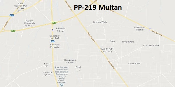 PP 219 Multan Google Area Location Map Election 2018 Punjab Assembly constituency (Halqa)-min
