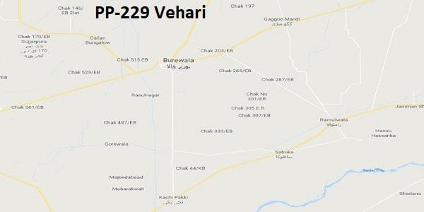 PP 229 Vehari Google Area Location Map Election 2018 Punjab Assembly constituency (Halqa)-min