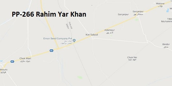 PP 266 Rahim Yar Khan Google Area Location Map Election 2018 Punjab Assembly constituency (Halqa)-min
