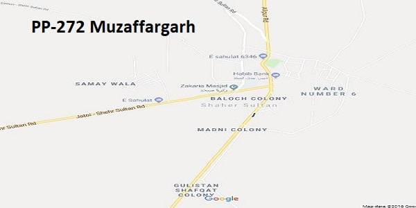 PP 272 Muzaffargarh Google Area Location Map Election 2018 Punjab Assembly constituency (Halqa)-min