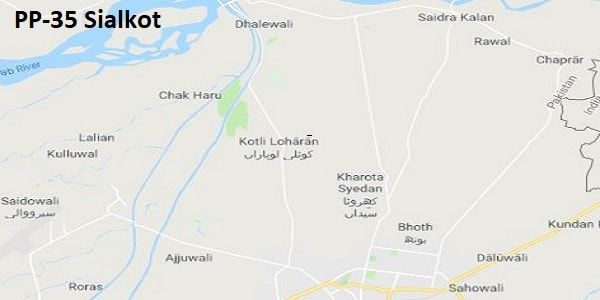 PP 35 Sialkot Google Area Location Map Election 2018 Punjab Assembly constituency (Halqa)-min