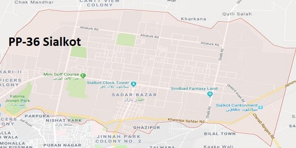 PP 36 Sialkot Google Area Location Map Election 2018 Punjab Assembly constituency (Halqa)-min
