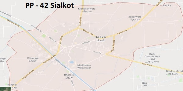 PP 42 Sialkot Google Area Location Map Election 2018 Punjab Assembly constituency (Halqa)-min