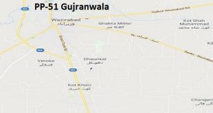 PP 51 Gujranwala Google Area Location Map Election 2018 Punjab Assembly constituency (Halqa)-min