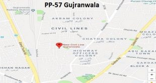 PP 57 Gujranwala Google Area Location Map Election 2018 Punjab Assembly constituency (Halqa)-min