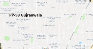 PP 58 Gujranwala Google Area Location Map Election 2018 Punjab Assembly constituency (Halqa)-min