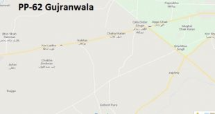PP 62 Gujranwala Google Area Location Map Election 2018 Punjab Assembly constituency (Halqa)-min