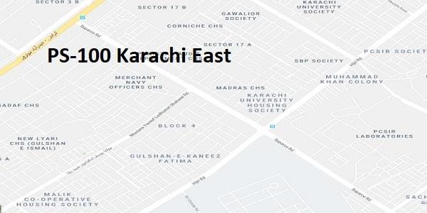 PS 100 Karachi East Google Area Location Map Election 2018 Sindh Assembly constituency (Halqa)-min