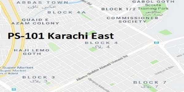 PS 101 Karachi East Google Area Location Map Election 2018 Sindh Assembly constituency (Halqa)-min