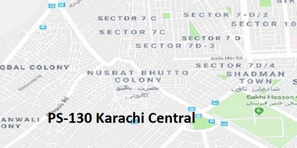 PS 130 Karachi Central Google Area Location Map Election 2018 Sindh Assembly constituency (Halqa)-min