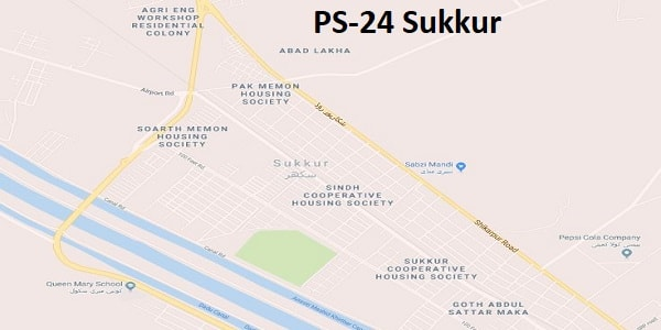 PS 24 Sukkur Google Area Location Map Election 2018 Sindh Assembly constituency (Halqa)-min