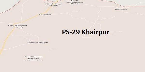 PS 29 Khairpur Google Area Location Map Election 2018 Sindh Assembly constituency (Halqa)-min