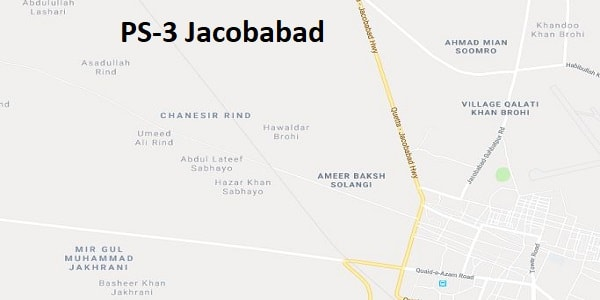 PS 3 Jacobabad Google Area Location Map Election 2018 Sindh Assembly constituency (Halqa)-min
