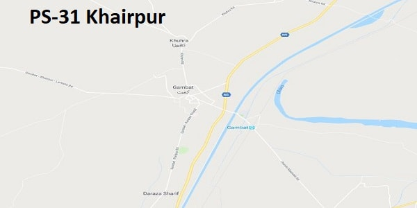 PS 31 Khairpur Google Area Location Map Election 2018 Sindh Assembly constituency (Halqa)-min