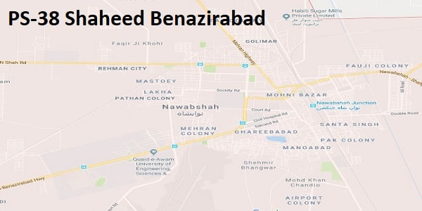 PS 38 Shaheed Benazirabad Google Area Location Map Election 2018 Sindh Assembly constituency (Halqa)-min