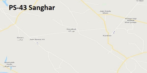 PS 43 Sanghar Google Area Location Map Election 2018 Sindh Assembly constituency (Halqa)-min
