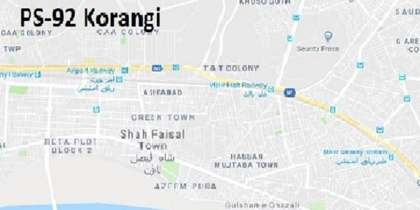 PS 92 Korangi Karachi Google Area Location Map Election 2018 Sindh Assembly constituency (Halqa)-min