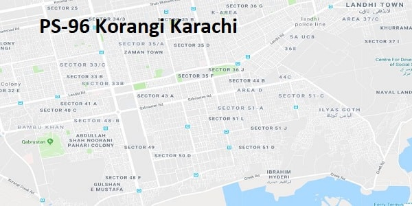 PS 96 Korangi Karachi Google Area Location Map Election 2018 Sindh Assembly constituency (Halqa)-min