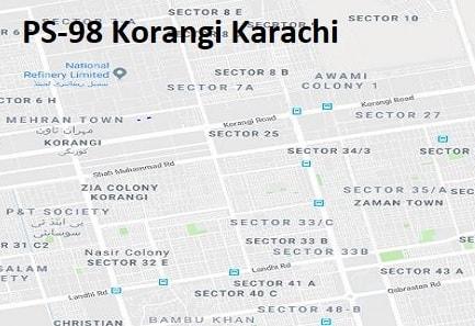 PS 98 Korangi Karachi Google Area Location Map Election 2018 Sindh Assembly constituency (Halqa)-min