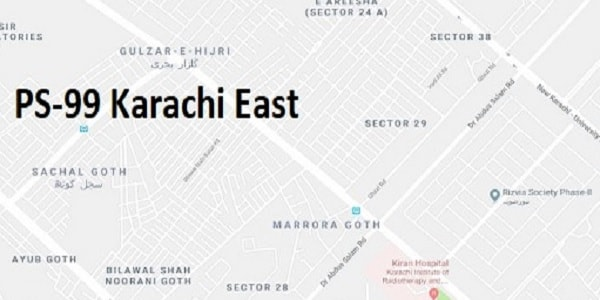 PS 99 Karachi East Google Area Location Map Election 2018 Sindh Assembly constituency (Halqa)-min